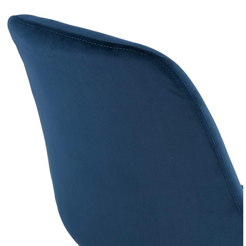 Chaise vintage et rétro en velours pieds noirs et dorés SUZON (bleu) - image 48229