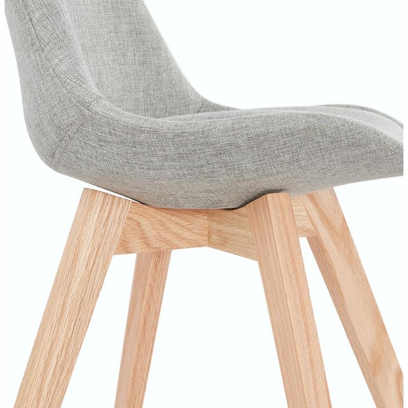 Chaise design en tissu pieds bois finition naturelle NAYA (gris) - image 48238