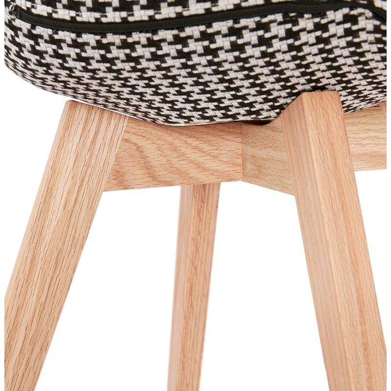 Chaise bohème patchwork en tissu pieds bois finition naturelle MARIKA (multicolore) - image 48241