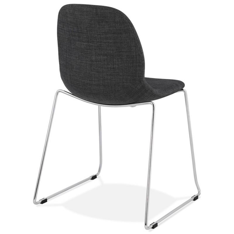 Chaise diseño empilable en tissu pieds métal chromé MANOU (gris anthracite) - image 48262