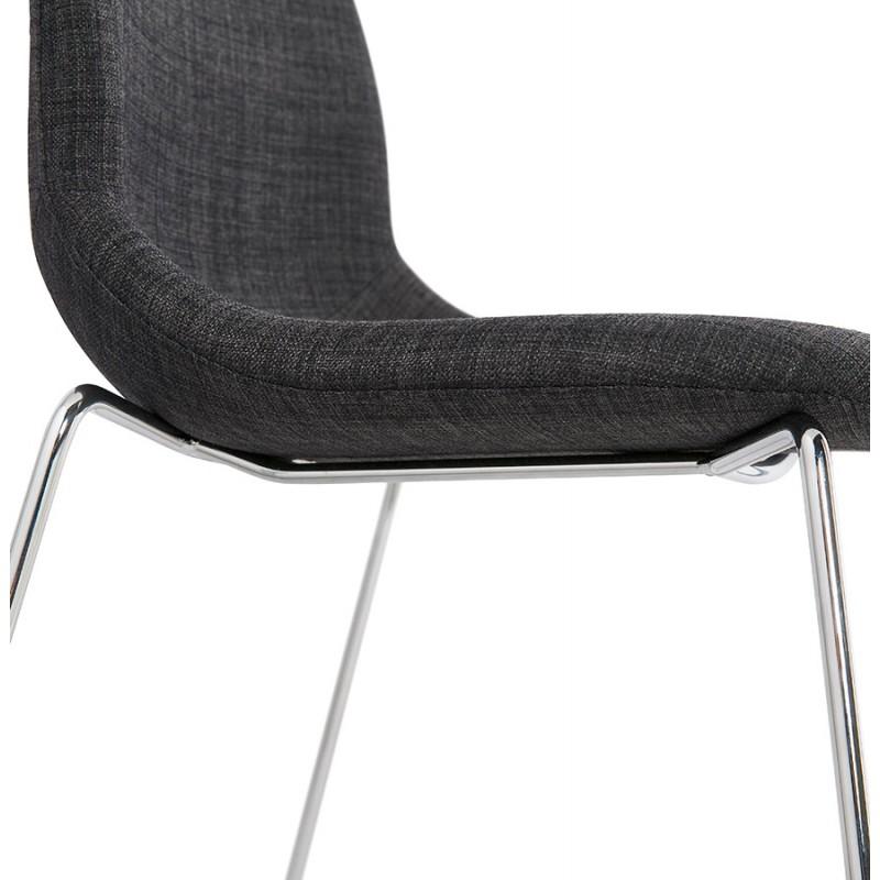 Chaise design empilable en tissu pieds métal chromé MANOU (gris anthracite) - image 48267