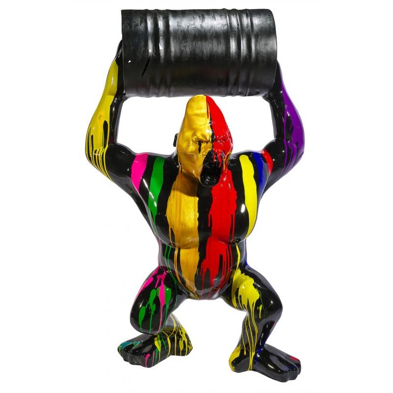 Statue sculpture décorative design GORILLE TONNEAU en résine H140 cm (Multicolore) - image 48274