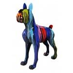 Diseño de escultura decorativa de la estatua CHIEN FUNNY en resina H152 cm (Multicolor)