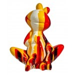 Statue decorative sculpture design GRENOUILLE ASSISE TRASH in resin H50 cm (Multicolored)