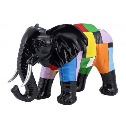 Statue sculpture décorative design ELEPHANT en résine H36 cm (Multicolore)