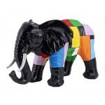 Statua scultura decorativa disegno ELEPHANT in resina H36 cm (Multicolore)