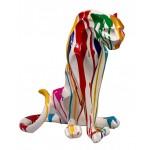 Diseño de escultura decorativa de la estatua PANTHERE TRASH resina H55cm (Multicolor)