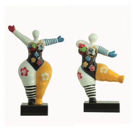 Set de 2 Statues sculptures décoratives design FEMMES FLEURS en résine H34 cm (Multicolore)