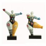 Set di 2 statue sculture decorative disegno WOMEN FLEURS in resina H34 cm (Multicolor)