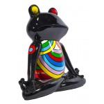 Escaloque decorativo escultura diseño GRENOUILLE ZEN en resina H40 cm (Multicolor)