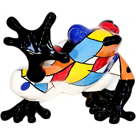 Statue sculpture décorative design GRENOUILLE ASSISE en résine H32 cm (Multicolore)