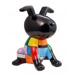 Statua scultura decorativa disegno CHIEN OREILLES LEVEES in resina H50 cm (Multicolor)