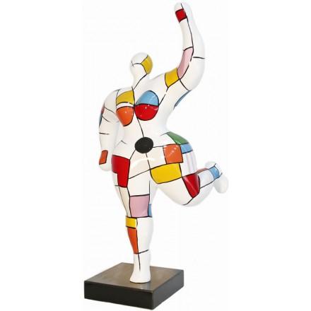 Statue sculpture décorative design FEMME ARLEQUIN en résine H88 cm (Multicolore)