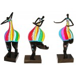 Set of 3 statues decorative sculptures design WOMAN ACTIVE in resin H51 cm (Multicolored)