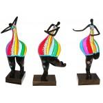 Satz von 3 Statuen dekorative Skulpturen Design FRAU AKTIV in Harz H51 cm (mehrfarbig)
