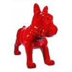 Statua disegno scultura decorativa CHIEN DEBOUT in resina H80 cm (rosso)