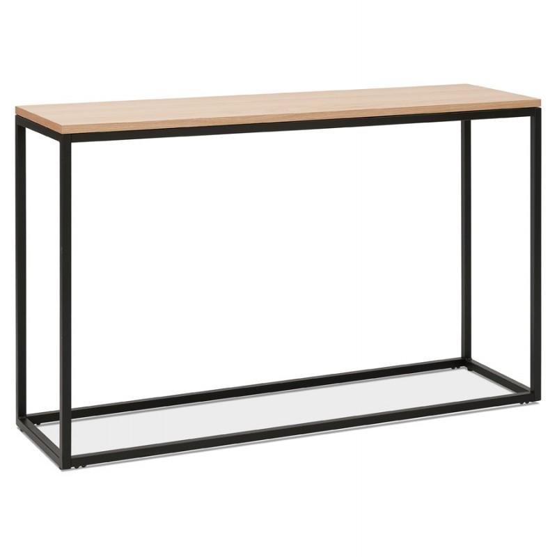 ROSALINE Holz- und Schwarzmetall-Designkonsole (natürliche Ausführung)