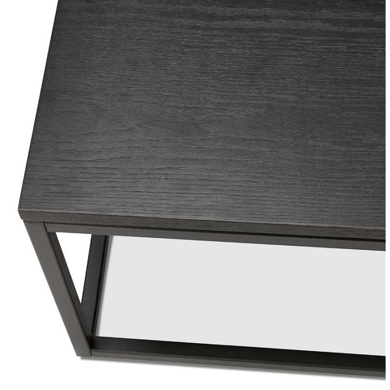 Table basse design industrielle en bois et métal noir ROXY (noir) - image 48371