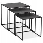 Set de 3 Tables gigognes style industriel en bois et métal noir ROSY (noir)