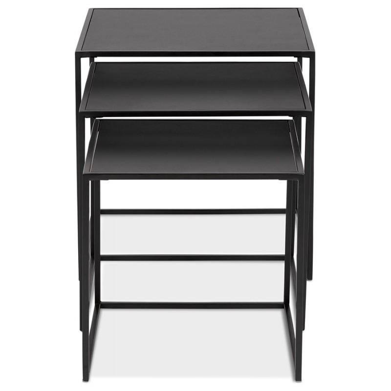 Satz von 3 Tische Gigognes Industriestil in Holz und schwarz Metall ROSY (schwarz) - image 48384