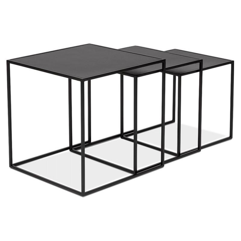 Satz von 3 Tische Gigognes Industriestil in Holz und schwarz Metall ROSY (schwarz) - image 48385