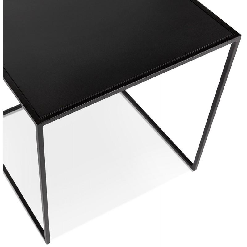 Satz von 3 Tische Gigognes Industriestil in Holz und schwarz Metall ROSY (schwarz) - image 48387