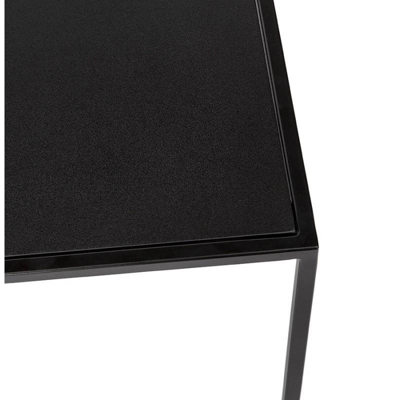 Satz von 3 Tische Gigognes Industriestil in Holz und schwarz Metall ROSY (schwarz) - image 48388