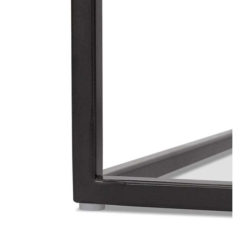 Satz von 3 Tische Gigognes Industriestil in Holz und schwarz Metall ROSY (schwarz) - image 48392