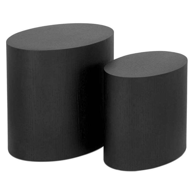 Set di 2 tavolini da disegno in legno ruggine (nero)