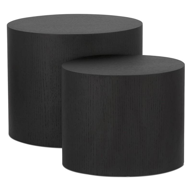 Set de 2 tables d'appoint design en bois RUSSEL (noir) - image 48396