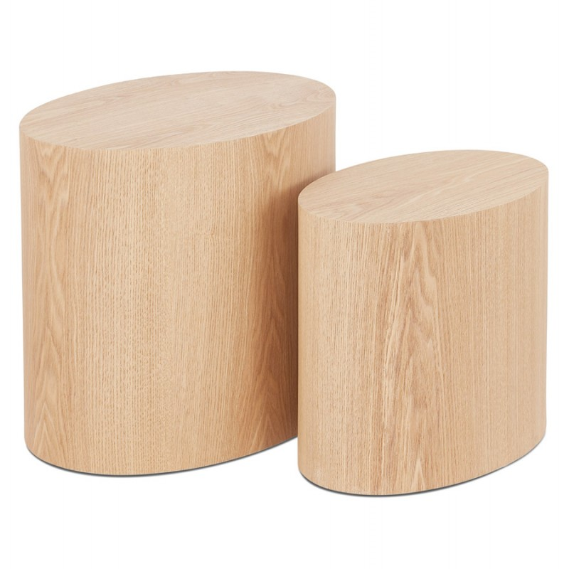 Set de 2 tables d'appoint design en bois RUSSEL (finition naturelle)