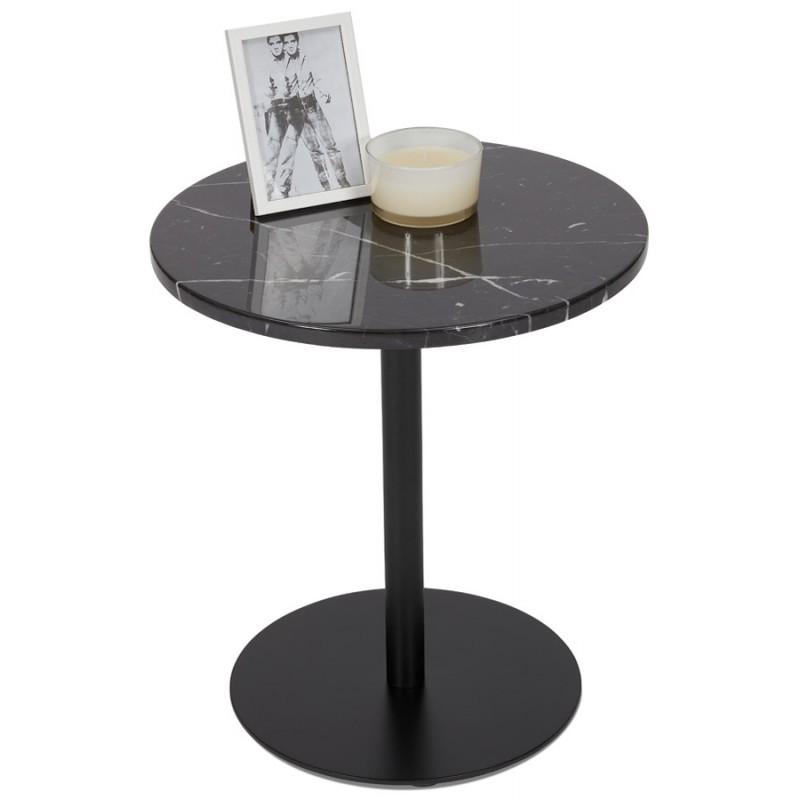 Table d'appoint design ronde en marbre ROXANE (noir) - image 48415