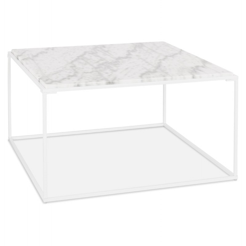 Table basse design en pierre marbrée ROBYN (blanc) - image 48416