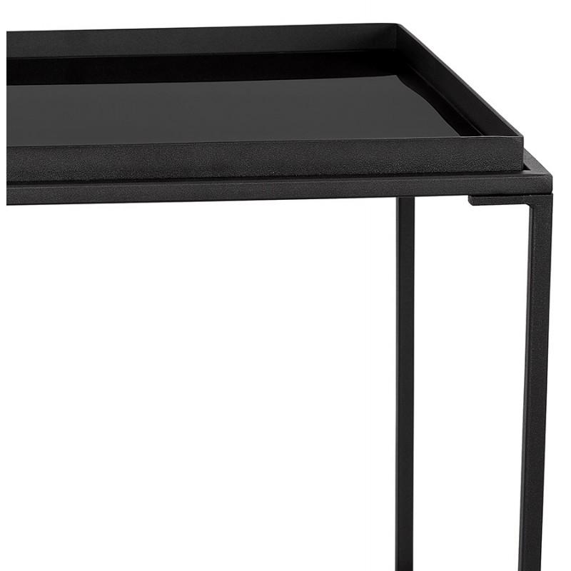 RAQUEL MINI glass and metal design side table (black) - image 48428