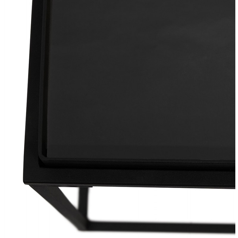 RAQUEL MINI glass and metal design side table (black) - image 48429