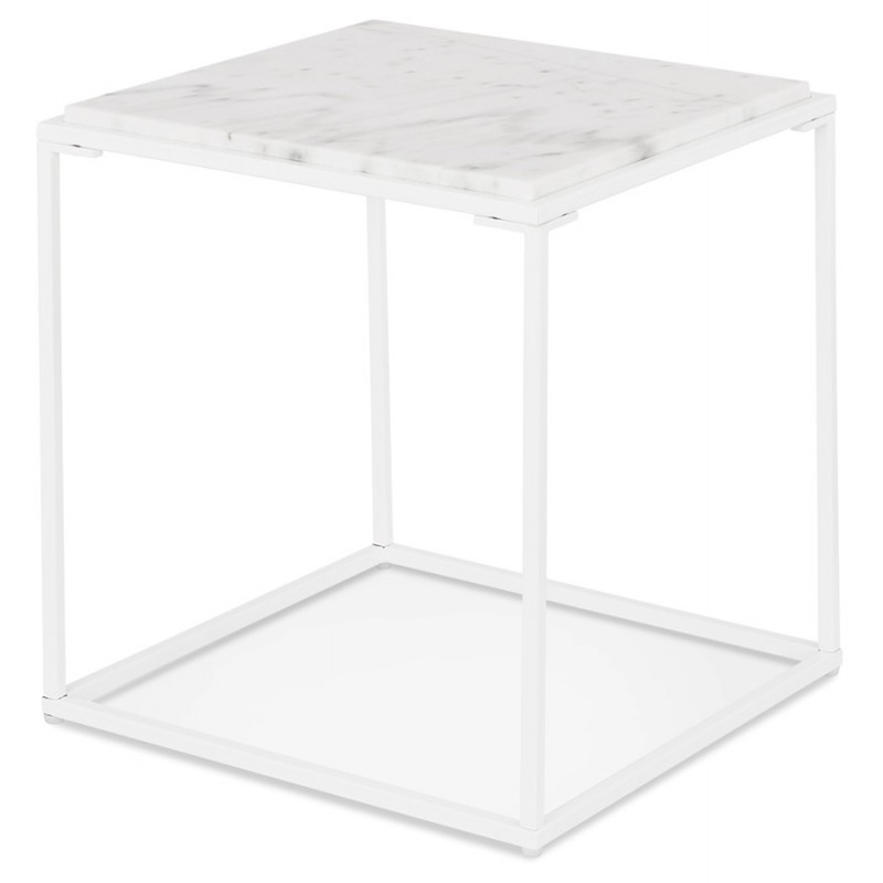 ROBYN MINI marbled stone design side coffee table (white) - image 48438