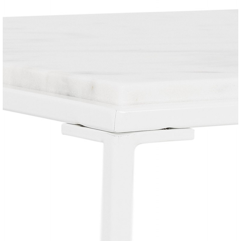 ROBYN MINI marbled stone design side coffee table (white) - image 48442