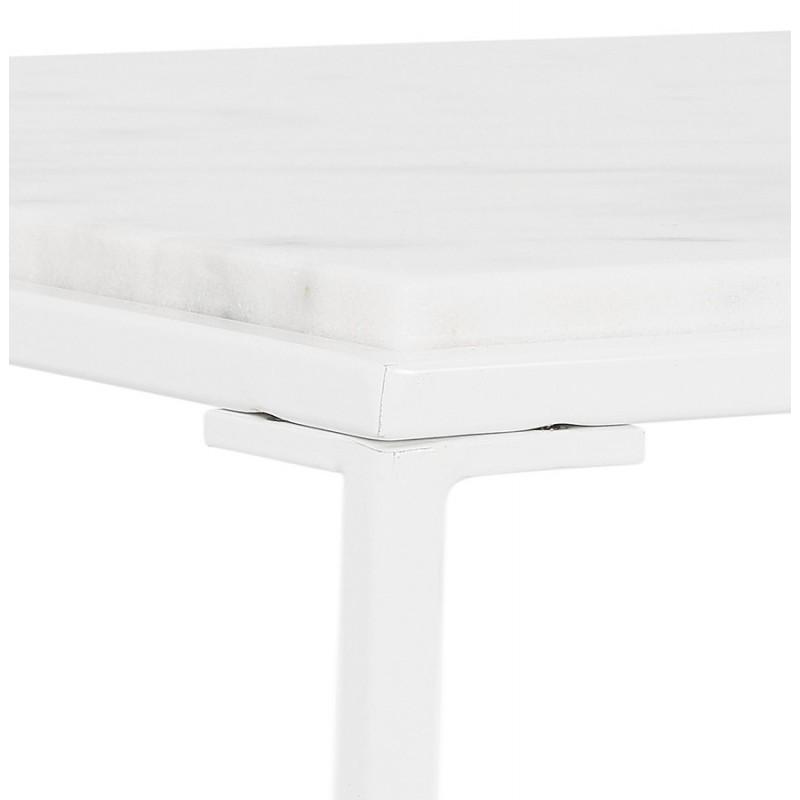 ROBYN MINI marmoriert Stein Design Seite Couchtisch (weiß) - image 48442