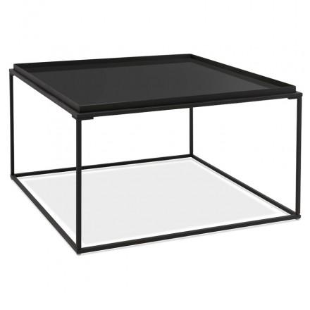 RAQUEL Glas- und Metalldesign Couchtisch (schwarz)