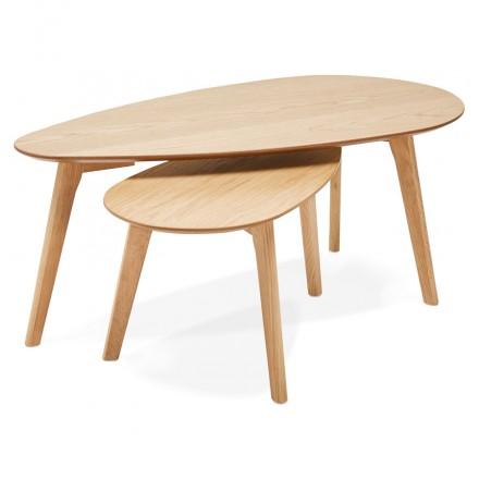 Tables gigognes design ovales en bois RAMON (finition naturelle)