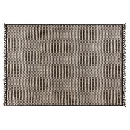 Tapis ethnique rectangulaire - 160x230 cm - PIERRETTE (noir, beige)