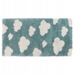 Rectangular children's carpet - 80x150 cm - NUAGE (blue, beige)