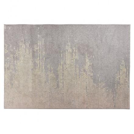 Tapis design rectangulaire - 160x230 cm - YOELA (gris, jaune)