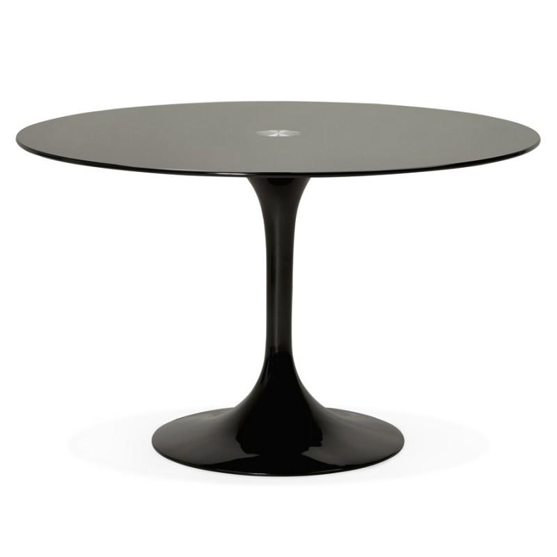 Mesa redonda de vidrio y mesa de comedor metálica (120 cm) URIELLE (negro) - image 48747