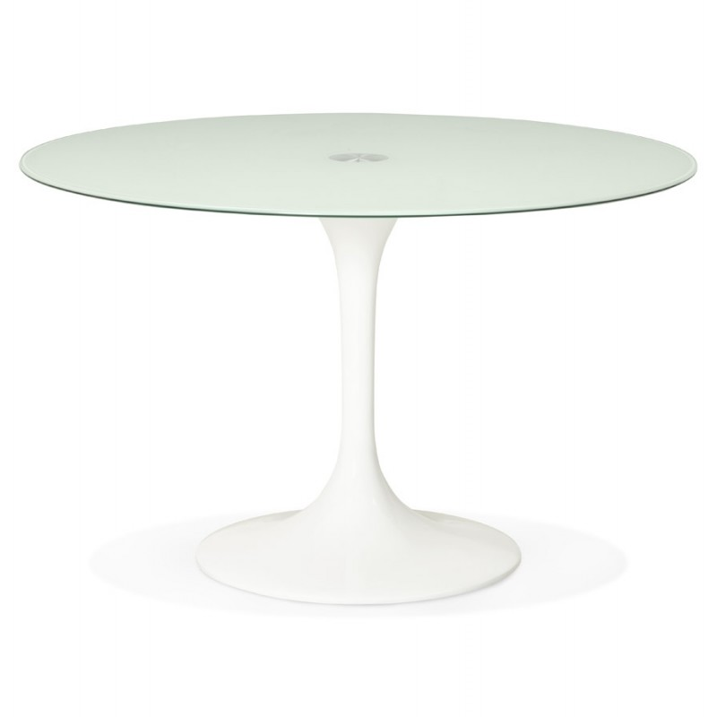 Table à manger ronde en verre et métal (Ø 120 cm) URIELLE (blanc) - image 48755