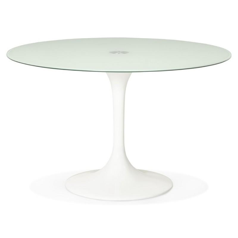 Runder Esstisch aus Glas und Metall (120 cm) URIELLE (weiß) - image 48755