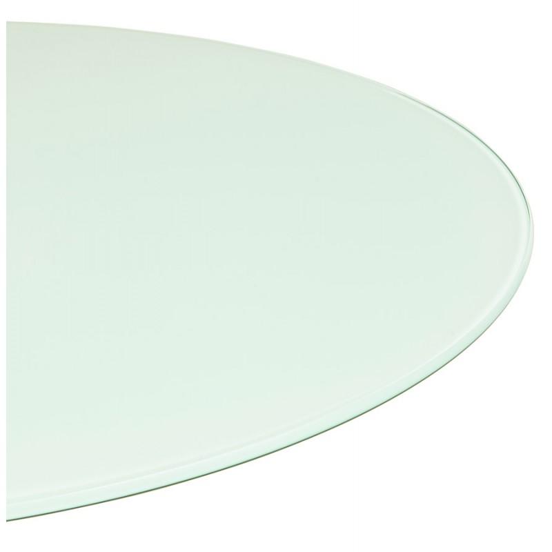Table à manger ronde en verre et métal (Ø 120 cm) URIELLE (blanc) - image 48756