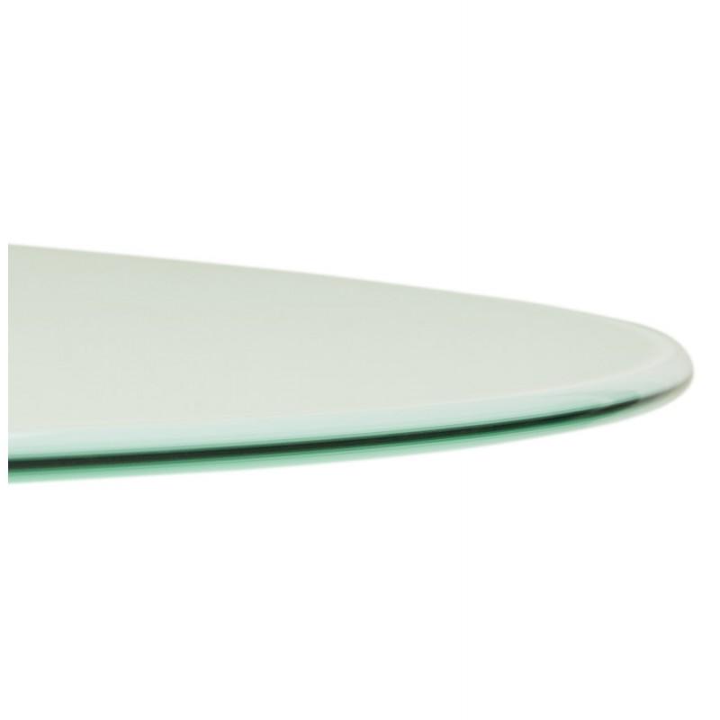 Table à manger ronde en verre et métal (Ø 120 cm) URIELLE (blanc) - image 48757