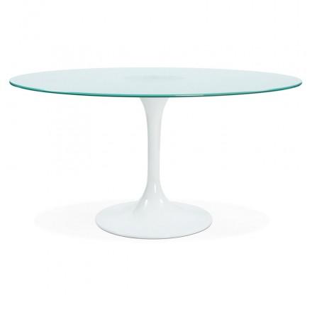 Vetro rotondo e tavolo da pranzo in metallo (140 cm) VIOLAINE (bianco)