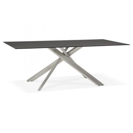 Mesa de comedor de diseño de vidrio y metal (200x100 cm) WHITNEY (negro)